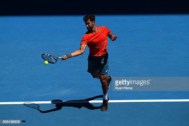 Yuki Bhambri of India plays a forehand his first round match against Tomas Berdych of the Czech Republic during day one of the 2016 Australian Open...