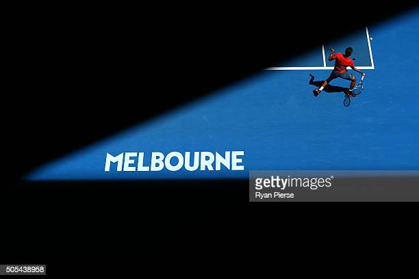 Yuki Bhambri of India plays a forehand in his first round match against Tomas Berdych of the Czech Republic during day one of the 2016 Australian...