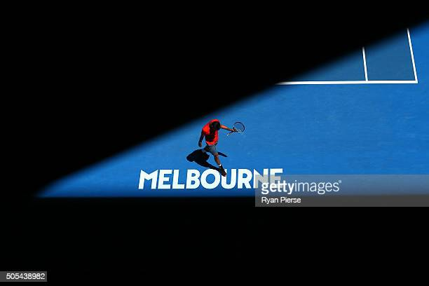 Yuki Bhambri of India walks behind the baseline in his first round match against Tomas Berdych of the Czech Republic during day one of the 2016...