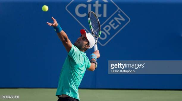 Yuki Bhambri of New Delhi competes with Kevin Anderson of South Africa at William H.G. FitzGerald Tennis Center on August 4, 2017 in Washington, DC.