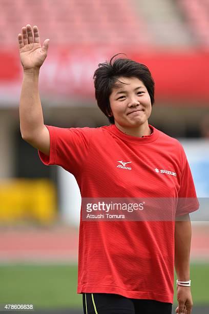 Yuki Ebihara of Japan smiles during the 99th Japan Athletics National Championships at Denka Big Swan Stadium on June 26 2015 in Niigata Japan