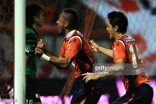 Yuki Fukaya of Omiya Ardija celebrates the second goal with his teammates Shusuke Tsubouchi during the JLeague match between Omiya Ardija and Urawa...