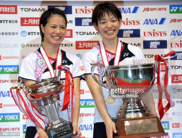Yuki Fukushima and Sayaka Hirota celebrate winning the gold in the Women's Doubles during the 71st All Japan Badminton Championships at Komazawa...
