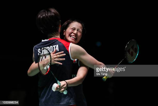 Yuki Fukushima and Sayaka Hirota of Japan celebrate the victory after their Women's Double final match against Chen Qingchen and Jia Yifan of China...
