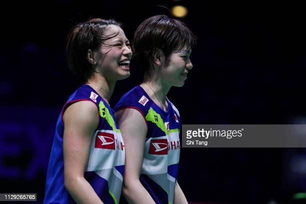 Yuki Fukushima and Sayaka Hirota of Japan celebrate the victory after the Women's Doubles quarter finals match against Gabriela Stoeva and Stefani...