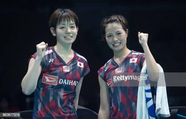 Yuki Fukushima and Sayaka Hirota of Japan celebrates after winning the women's doubles final match at the 2018 Badminton Asia Championships in Wuhan...