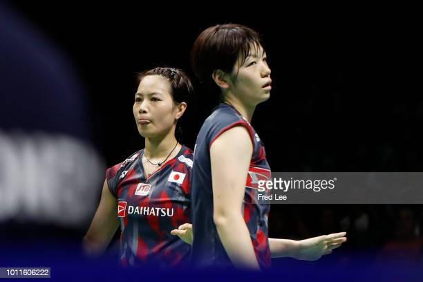 Yuki Fukushima and Sayaka Hirota of Japan compete against Mayu Matsumoto and Wakana Nagahara of Japan during the Women's doubles final match on day 7...