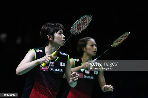 Yuki Fukushima and Sayaka Hirota of Japan compete against Misaki Matsutomo and Ayaka Takahashi of Japan during the Women's Doubles Final match on day...