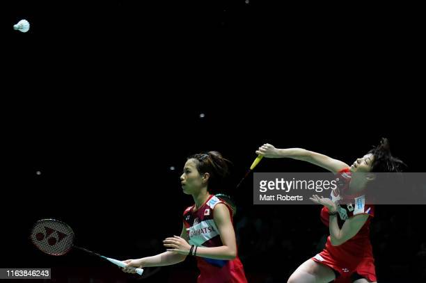 Yuki Fukushima and Sayaka Hirota of Japan compete in the mixed doubles match against Ekaterina Bolotova and Alina Davletova of Russia on day two of...