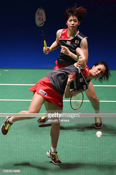 Yuki Fukushima and Sayaka Hirota of Japan compete in the Women's Doubles second round match against Chang Ye Na and Jung Kyung Eun of Korea on day...