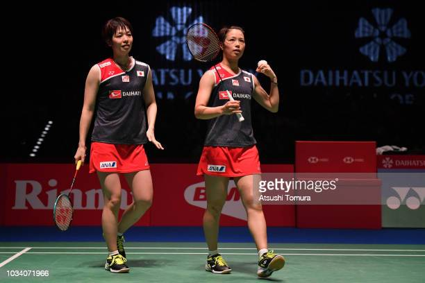 Yuki Fukushima and Sayaka Hirota of Japan compete in the women's doubles final match against Chen Qingchen and Jia Yifan of China on day six of the...