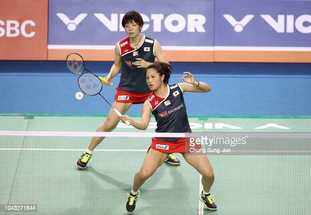 Yuki Fukushima and Sayaka Hirota of Japan compete in the Women's Doubles Final against Misaki Matsutomo and Ayaka Takahashi of Japan on day six of...