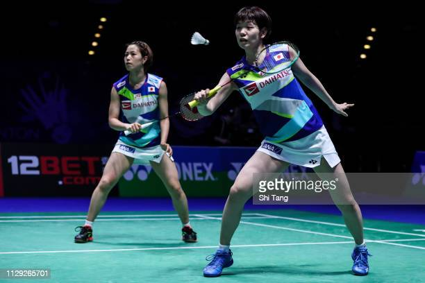 Yuki Fukushima and Sayaka Hirota of Japan compete in the Women's Doubles quarter finals match against Gabriela Stoeva and Stefani Stoeva of Bulgaria...