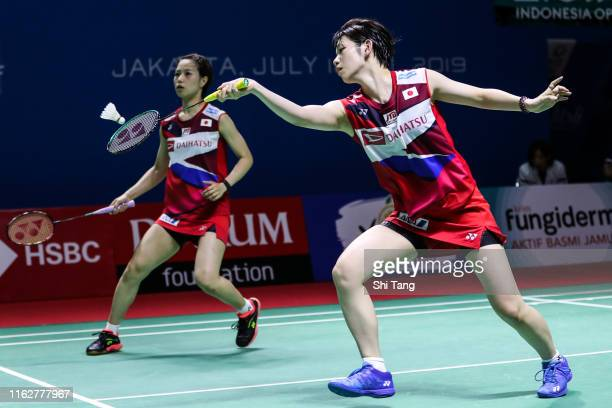 Yuki Fukushima and Sayaka Hirota of Japan compete in the Women's Doubles second round match against Liu Xuan Xuan and Xia Yu Ting of China on day...