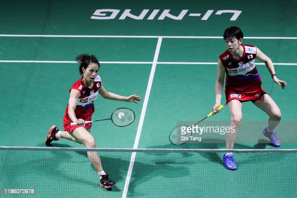 Yuki Fukushima and Sayaka Hirota of Japan compete in the Women's Doubles second round match against Hsu Ya Ching and Hu Ling Fang of Chinese Taipei...