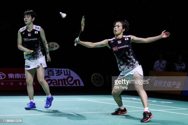 Yuki Fukushima and Sayaka Hirota of Japan compete in the Women's Double final match against Lee So Hee and Shin Seung Chan of Korea on day six of the...