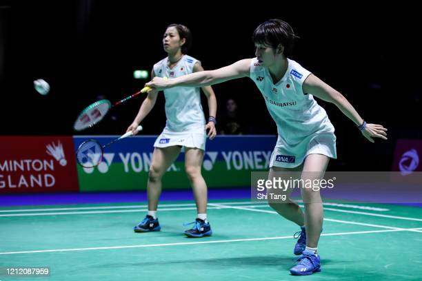 Yuki Fukushima and Sayaka Hirota of Japan compete in the Women's Doubles second round match against Baek Ha Na and Jung Kyung Eun of Korea on day two...