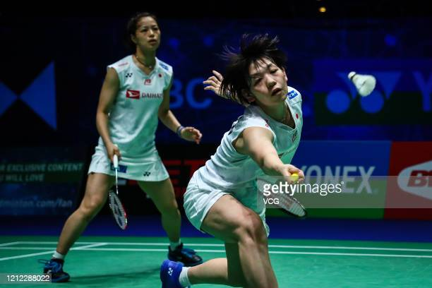 Yuki Fukushima and Sayaka Hirota of Japan compete in the Women's Doubles quarter-final match against Kim So Yeong and Kong Hee Yong of South Korea on...
