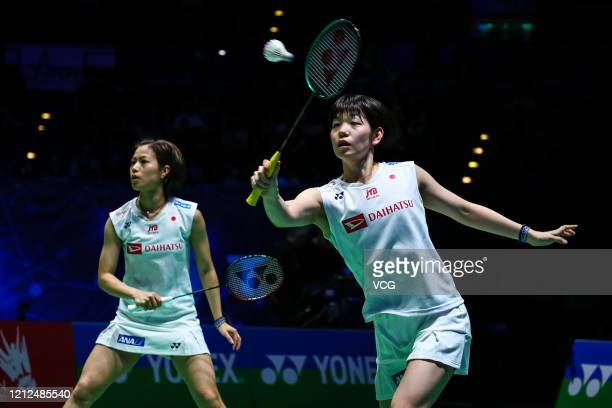 Yuki Fukushima and Sayaka Hirota of Japan compete in the Women's Doubles semifinal match against Misaki Matsutomo and Ayaka Takahashi of Japan on day...
