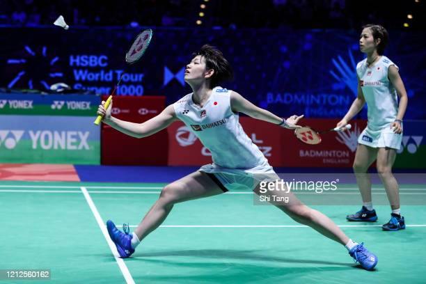 Yuki Fukushima and Sayaka Hirota of Japan compete in the Women's Double final match against Du Yue and Li Yinhui of China on day five of the Yonex...