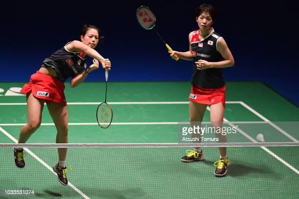 Yuki Fukushima and Sayaka Hirota of Japan compete in the Women's Doubles semi final match against Greysia Polii and Apriyani Rahayu of Indonesia on...