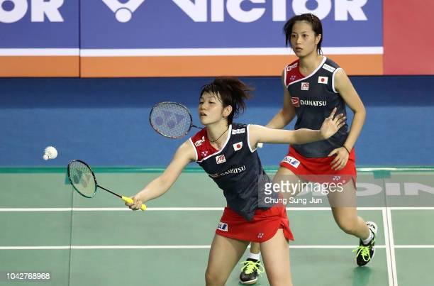 Yuki Fukushima and Sayaka Hirota of Japan compete in the Womens Doubles semi finals against Naoko Fukuman and Kurumi Yonao of Japan on day five of...