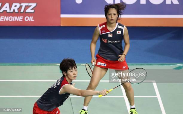 Yuki Fukushima and Sayaka Hirota of Japan compete in the Womens Doubles semi finals against Naoko Fukuman and Kurumi Yonao of Japan on day five of...