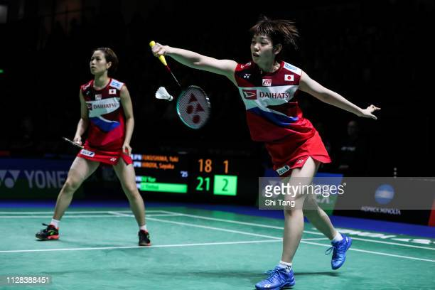 Yuki Fukushima and Sayaka Hirota of Japan compete in the Women's Doubles semi finals match against Du Yue and Li Yinhui of China during day five of...