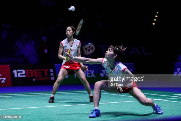 Yuki Fukushima and Sayaka Hirota of Japan compete in the Women's Doubles semi finals match against Chen Qingchen and Jia Yifan of China on day four...