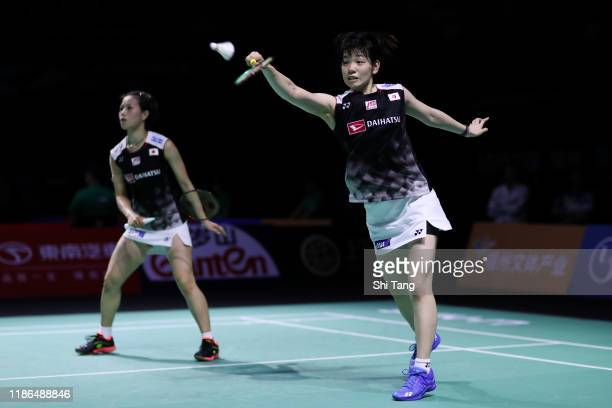 Yuki Fukushima and Sayaka Hirota of Japan compete in the Women's Doubles semi finals match against Chen Qingchen and Jia Yifan of China on day five...