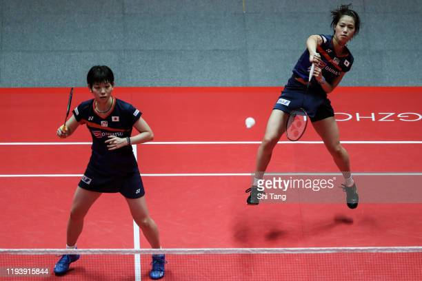 Yuki Fukushima and Sayaka Hirota of Japan compete in the Women's Doubles semi finals match against Mayu Matsumoto and Wakana Nagahara of Japan during...