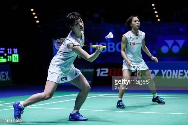Yuki Fukushima and Sayaka Hirota of Japan compete in the Women's Doubles semi finals match against Misaki Matsutomo and Ayaka Takahashi of Japan on...
