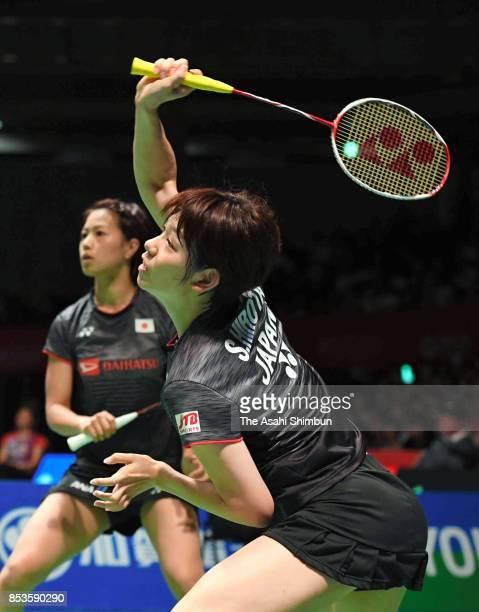 Yuki Fukushima and Sayaka Hirota of Japan compete in the Women's Doubles semi final against Misaki Matsutomo and Ayaka Takahashi of Japan during day...