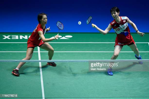 Yuki Fukushima and Sayaka Hirota of Japan competes in the Women's Doubles Quarterfinal match against Li Wen Mei and Zheng Yu of China on day four of...