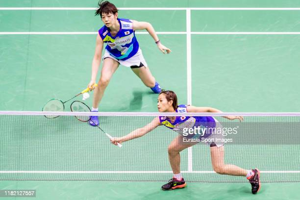Yuki Fukushima and Sayaka Hirota of Japan in action during the women's double against Ng Tsz Yau and Yuen Sin Ying of Hong Kong on day two of the...