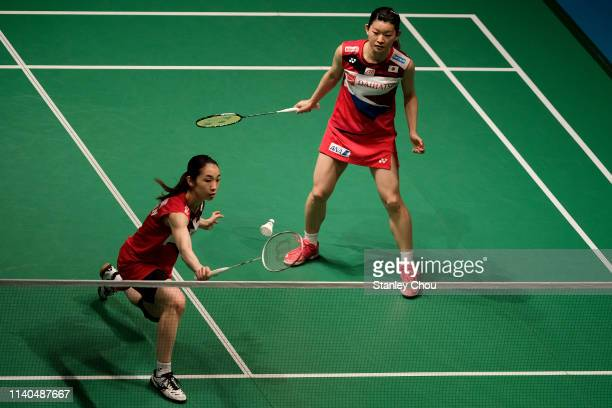 Yuki Fukushima and Sayaka Hirota of Japan in action on day three of the Badminton Malaysia Open at Axiata Arena on April 04 2019 in Kuala Lumpur...