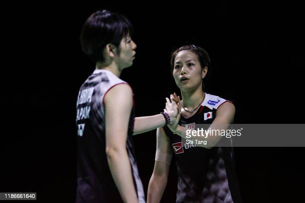 Yuki Fukushima and Sayaka Hirota of Japan react in the Women's Double final match against Lee So Hee and Shin Seung Chan of Korea on day six of the...