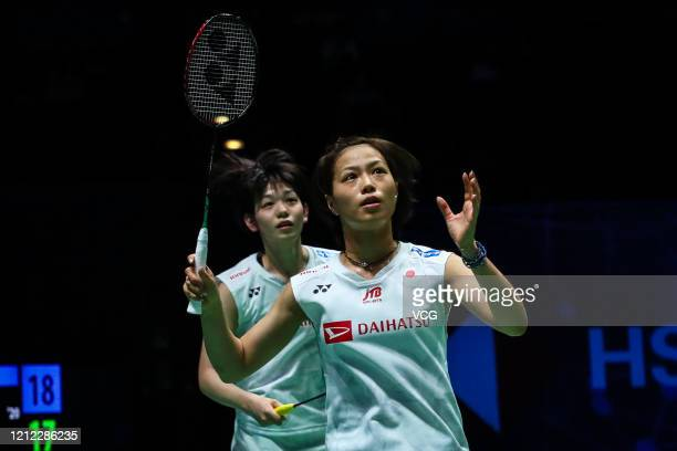 Yuki Fukushima and Sayaka Hirota of Japan react in the Women's Doubles quarter-final match against Kim So Yeong and Kong Hee Yong of South Korea on...