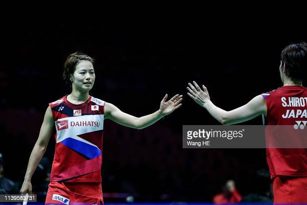 Yuki Fukushima and Sayaka Hirota of Japan react the women's doubles Semifinal match against Mayu Matsumoto and Wakana Nagajara of Japan at the 2019...