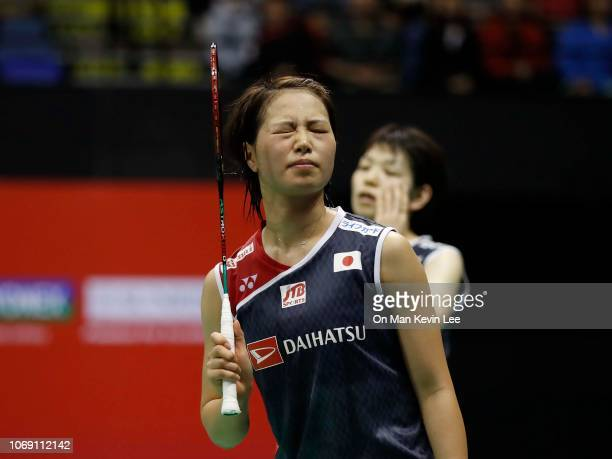 Yuki Fukushima and Sayaka Hirota of Japan reacts in the match against Lee So Hee and Shin Seung Chan of Korea at the final of Women's Double of Yonex...