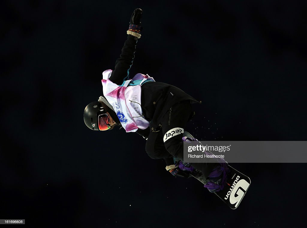 Yuki Furihata of Japan in action during the womens FIS World Cup Snowboard Half Pipe competition at the Rosa Khutor Extreme Park in Krasnya Polyana on February 14, 2013 in Sochi, Russia. Sochi is preparing for the 2014 Winter Olympics with test events across the venues.