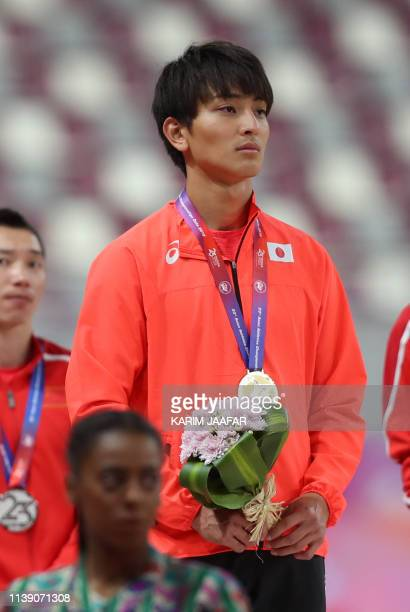 Yuki Hashioka of Japan attends the podium ceremony after winning first place in the men's long jump during the fourth day of the 23rd Asian Athletics...