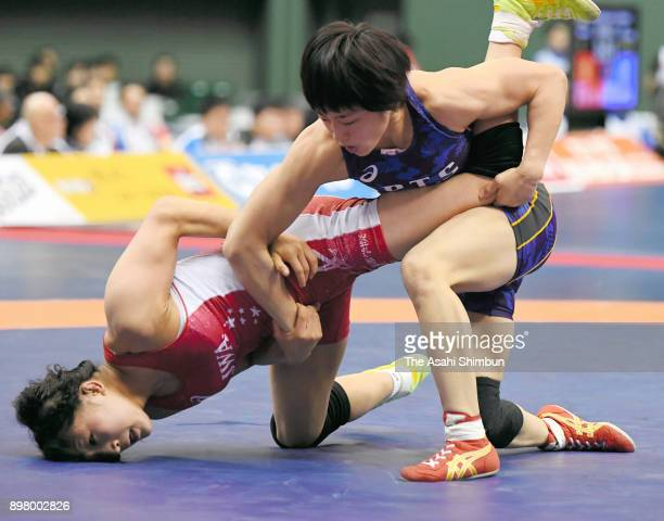 Yuki Irie and Miho Igarashi compete in the Women's 50kg final during day four of the All Japan Wrestling Championships at Komazawa Gymansium on...
