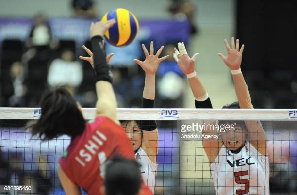 Yuki Ishii of Hisamitsu Spring in action against Mizuki Yanagita and Kana Ono during the final match for the 7th and 8th place of the FIVB Womens...