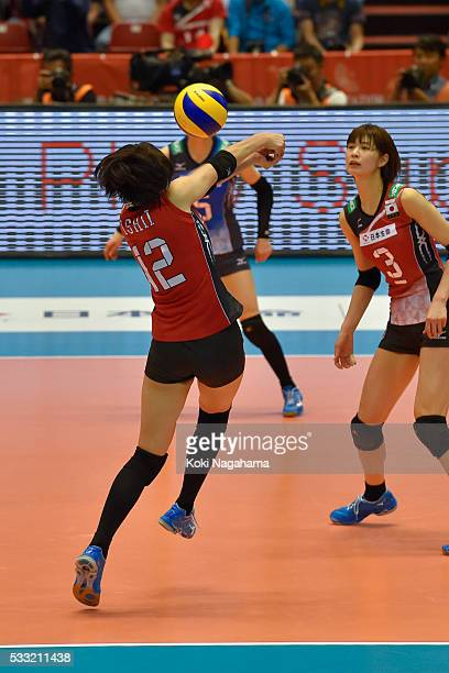 Yuki Ishii of Japan receives the ball during the Women's World Olympic Qualification game between Japan and Italy at Tokyo Metropolitan Gymnasium on...