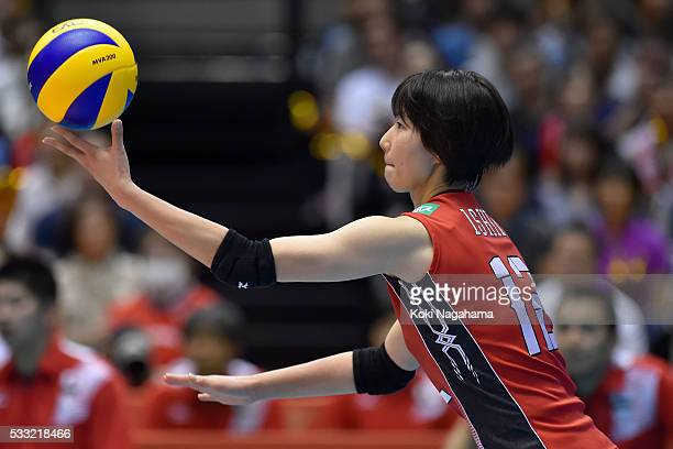 Yuki Ishii of Japan serves the ball during the Women's World Olympic Qualification game between Japan and Italy at Tokyo Metropolitan Gymnasium on...
