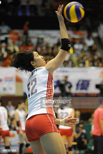 Yuki Ishii of Japan spikes in warm up prior to the match between Japan and South Korea during the FIVB Women's Volleyball World Cup Japan 2015 at...
