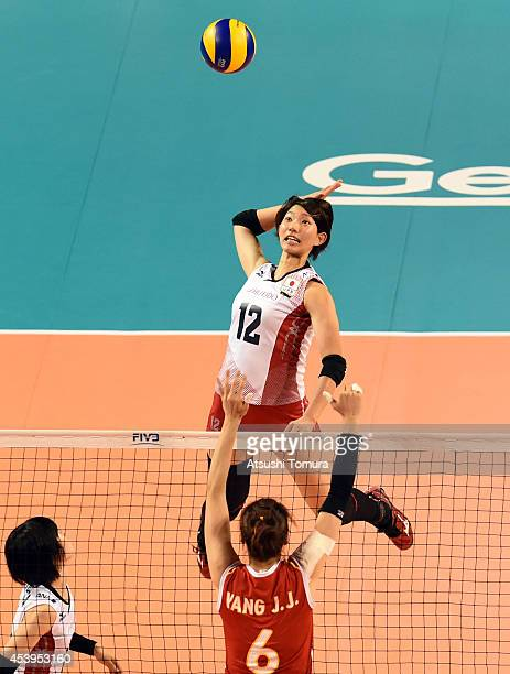 Yuki Ishii of Japan spikes the ball during the FIVB World Grand Prix Final group one match between Japan and China on August 22 2014 in Tokyo Japan