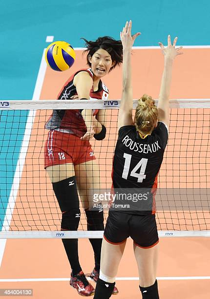 Yuki Ishii of Japan spikes the ball during the FIVB World Grand Prix Final group one match between Belgium and Japan on August 23 2014 in Tokyo Japan