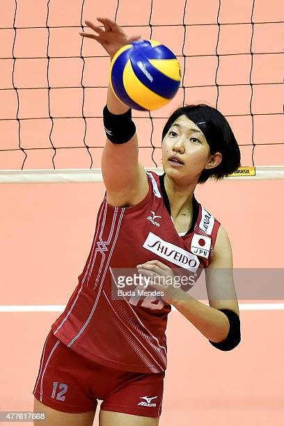 Yuki Ishii of Japan spikes the ball prior to the Brazil v Japan Volleyball Challenge at Maracanazinho on June 18 2015 in Rio de Janeiro Brazil